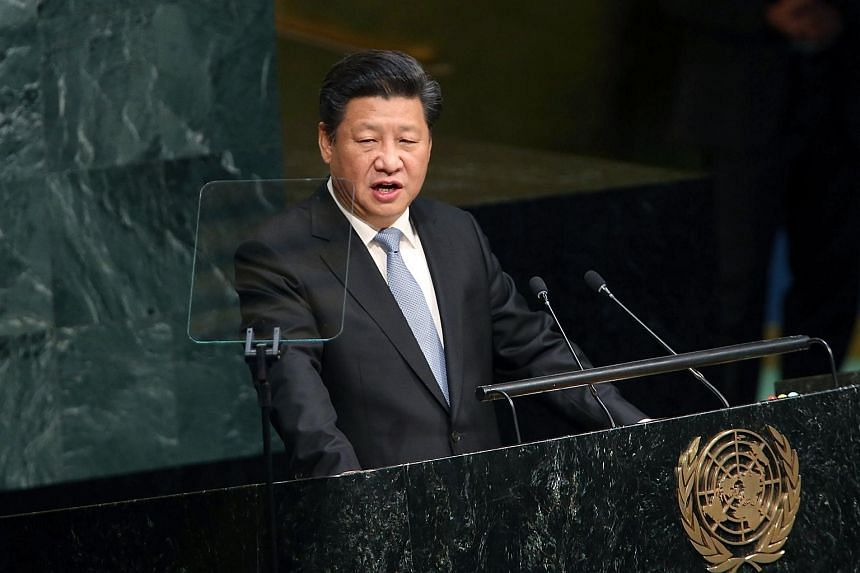 People's Republic of China President Xi Jinping delivering remarks at the United Nations General Assembly on Sept 28, 2015.
