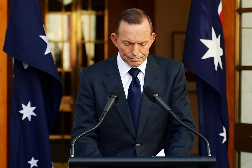 Former Australian Prime Minister Tony Abbott speaking during a press conference in the Prime Ministerial courtyard at Parliament House in Canberra on Sept 15, 2015.