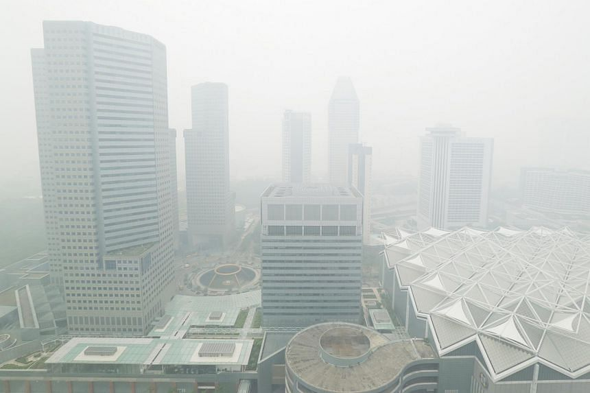 The hazy outlook at City Hall at 1pm on Sept 29, 2015.