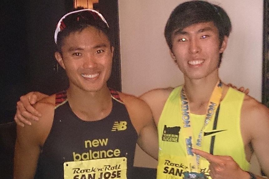 Singapore's top two long-distance runners Mok Ying Ren (left) and Soh Rui Yong took part in the San Jose Rock 'N' Roll Half Marathon in California on Sunday. Mok ran 1:08:22 in his first race in 15 months after suffering a string of injuries, while S