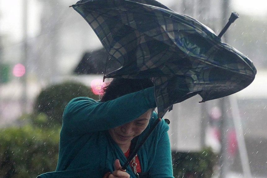 A woman struggling against strong winds and rain caused by Typhoon Dujuan in Taipei yesterday. Dujuan hit Taiwan's north-eastern tip earlier than expected yesterday, with more than 7,000 people evacuated in advance. The authorities said tens of thous