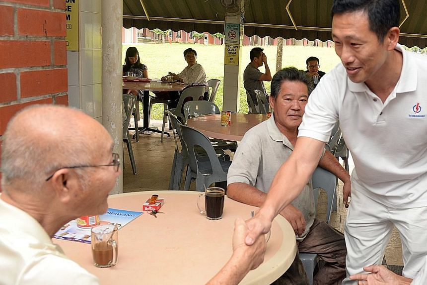 Mr Ong Ye Kung (left) and Mr Ng Chee Meng (right), during campaigning for the Sept 11 polls. The two newly-elected MPs will jointly helm the Education Ministry. PM Lee said he had known both men before they entered politics and felt they were well-pl