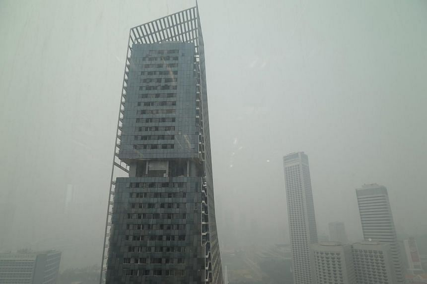 The haze situation at 1100hrs today, City Hall.