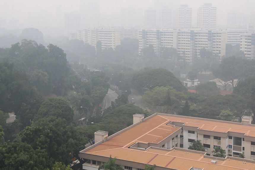 The hazy outlook overlooking Clementi Road on Sept 29, 2015.