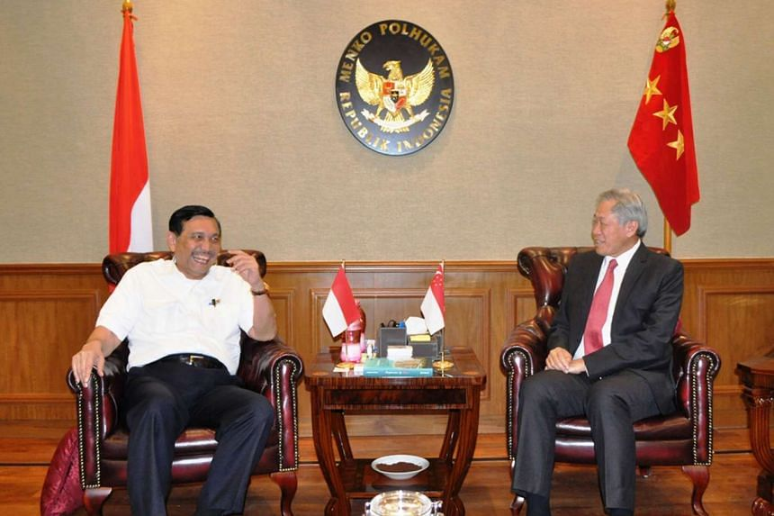Minister for Defence Ng Eng Hen (right) speaking with Indonesian Coordinating Minister for Political, Legal and Security Affairs Luhut Pandjaitan while calling on him on Sept 28, 2015.