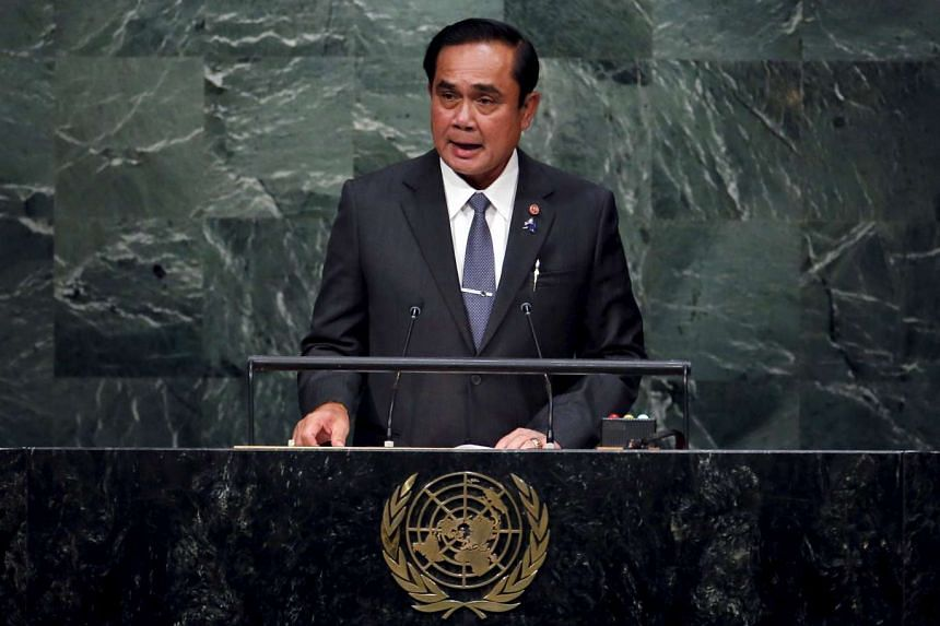 Thailand's Prime Minister Prayut Chan-o-cha addresses a plenary meeting of the United Nations Sustainable Development Summit 2015 on Sept 27, 2015.