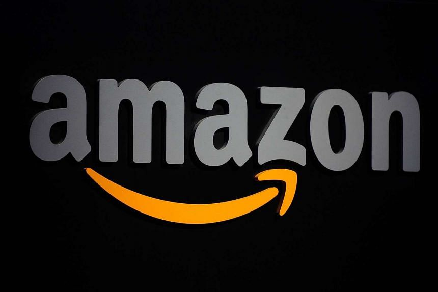 The Amazon logo as show during a press conference in New York.