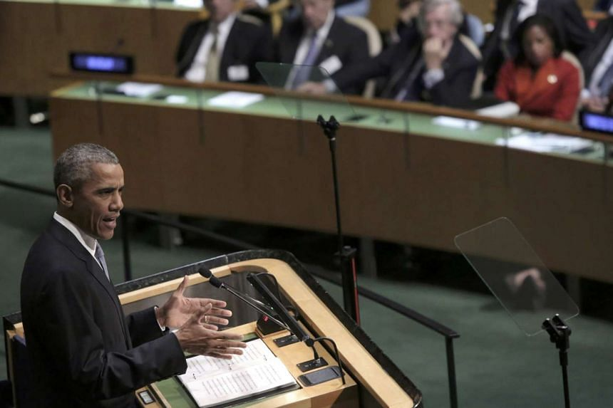 US President Barack Obama addresses attendees during the 70th session of the United Nations General Assembly at UN Headquarters in New York on Monday.