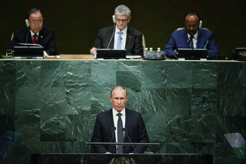 President of Russia Vladimir Putin addresses the United Nations General Assembly on Monday.