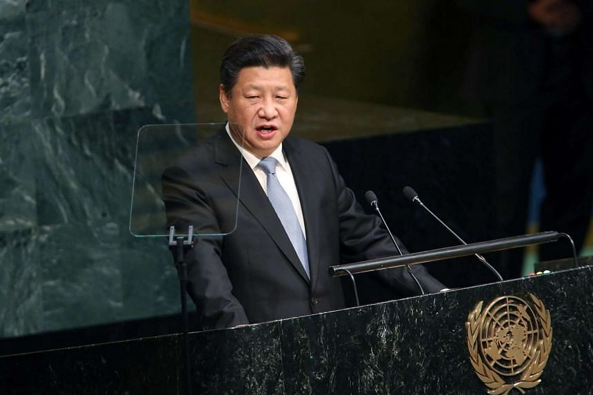 China's President Xi Jinping delivers remarks at the United Nations General Assembly at UN headquarters  in New York on Monday.