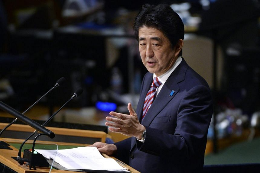 Japan's PM Shinzo Abe speaking during the 70th session General Debate of the United Nations General Assembly in New York, on Sept 29, 2015.