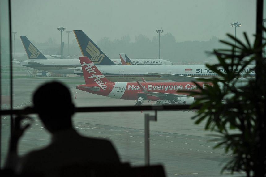 Haze from Changi Airport Terminal 1 at around 10am when the 3-hour PSI at 10am was 106 on Sept 30, 2015.