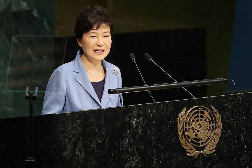 South Korean President Park Geun Hye speaking at the 70th session of the UN General Assembly at UN headquarters on Sept 28, 2015.
