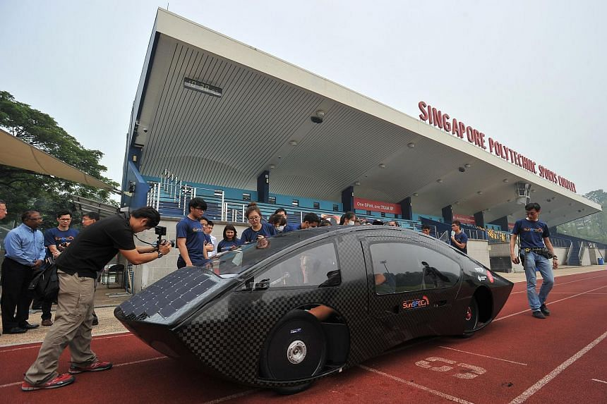 Singapore Polytechnic unveiling their self-built solar car, SunSPEC4, with strong support from sponsor Singapore Power, at Singapore Polytechnic Sports Complex on Sept 29, 2015.