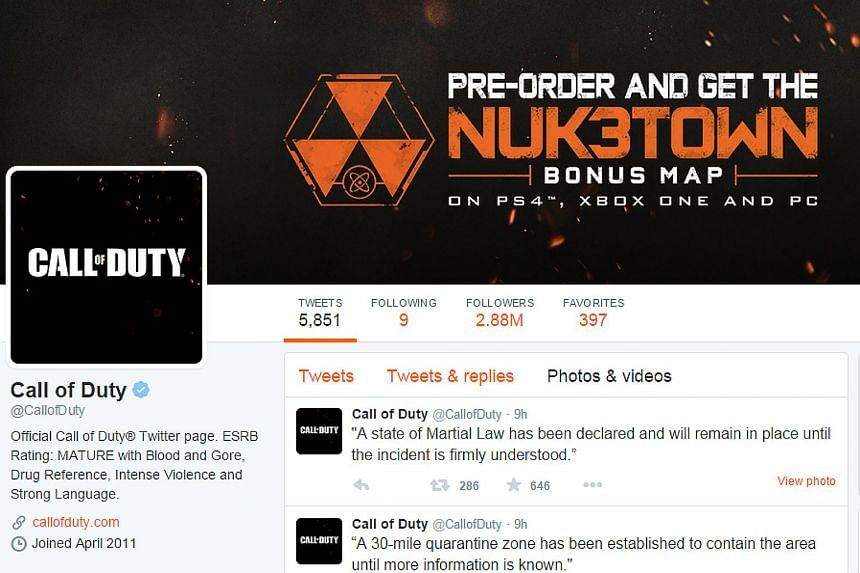 "Video game Call of Duty's publicity stunt on Twitter spreading fake news of an explosion in Singapore has backfired, with netizens calling it ""sick"" and ""a shame""."