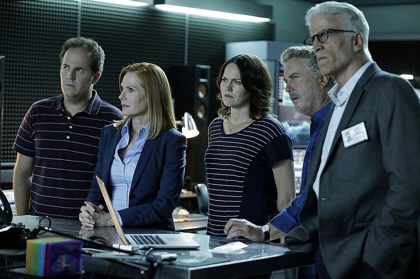 From far left: David Berman, Marg Helgenberger, Jorja Fox, William Petersen and Ted Danson star in the two-hour finale of CSI: Crime Scene Investigation.