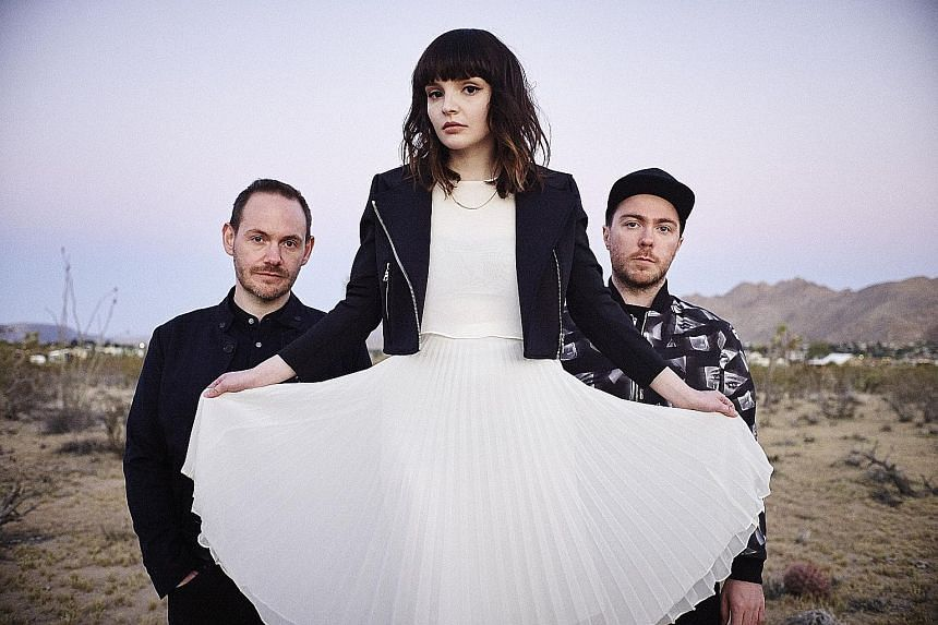 Chvrches' (from far left) Iain Cook, Lauren Mayberry and Martin Doherty make 1980s pop relevant to a new generation.