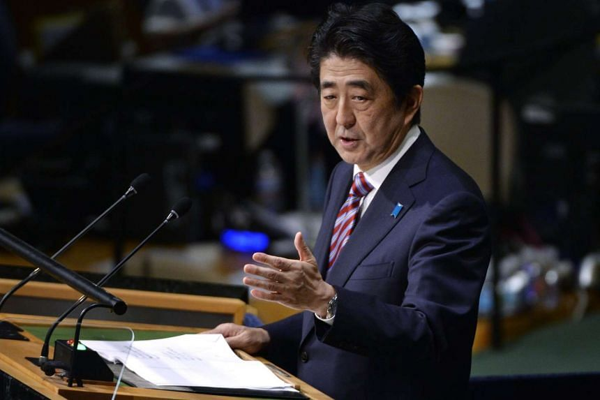 Japan's Prime Minister Shinzo Abe delivers his address to the United Nations General Assembly at United Nations headquarters in New York on Tuesday.