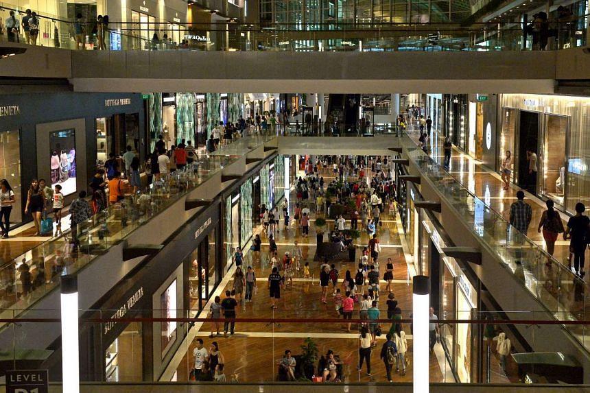 Shoppers at the Shoppes at Marina Bay Sands.