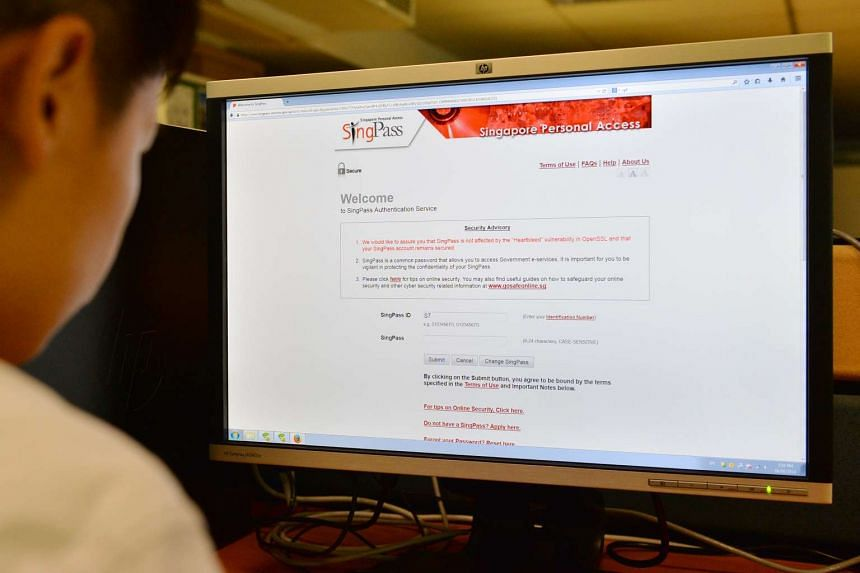 Posed photo of a person looking at SingPass website on Jun 4, 2014.