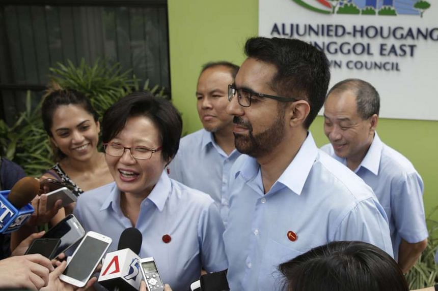 Workers' Party MP Pritam Singh (right) will be chairman of the Aljunied-Hougang Town Council, taking over from party chairman Sylvia Lim (left).