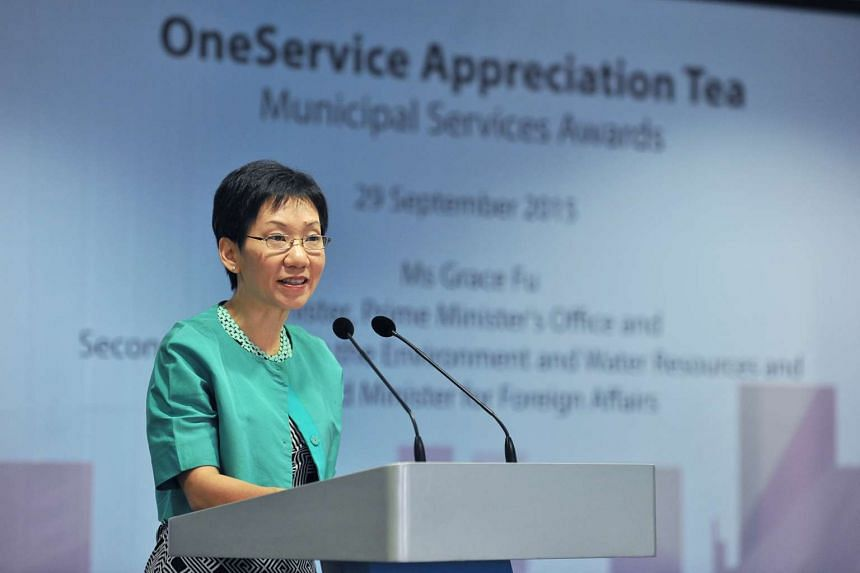 Ms Grace Fu gracing the OneService Appreciation Tea, organised by the Municipal Services Office at Hort Park on Sept 29 2015.