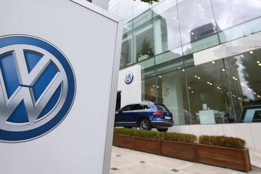 A general view shows the facade of one of Volkswagen's outlets in Seoul, South Korea, on Sept 30, 2015.