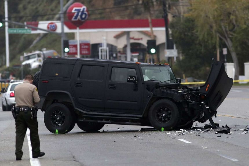 A damaged vehicle is pictured at the scene of a four-car crash involving Olympic gold medalist and reality TV star Caitlyn Jenner in Malibu, California, in this February 7, 2015 file photo.