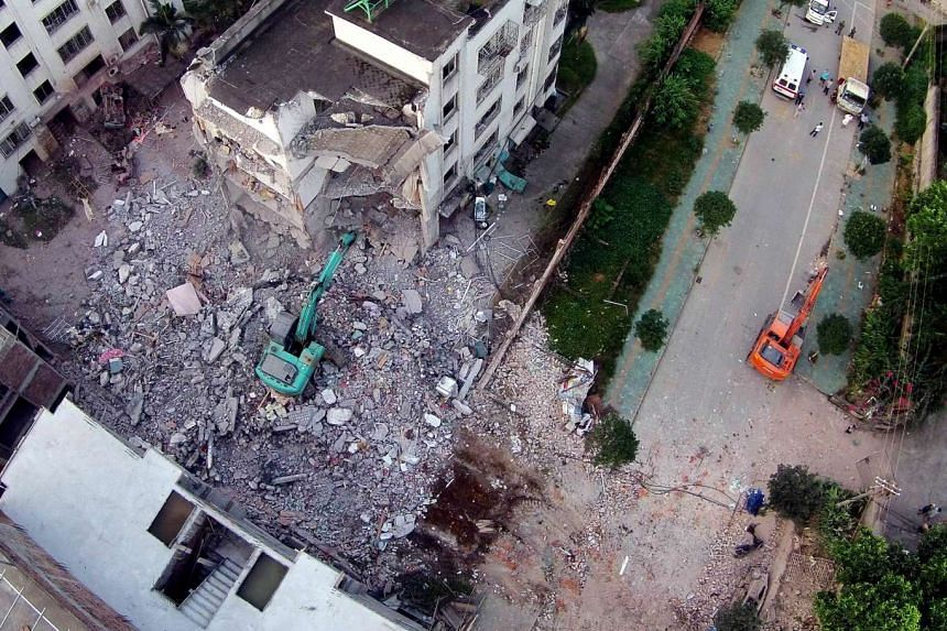 A building which was damaged in a series of blasts in Liuzhou, south China's Guangxi province, on Sept 30, 2015.