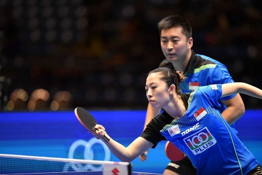 Yang Zi and Yu Mengyu at the Asian Table Tennis Championships on Oct 1, 2015.
