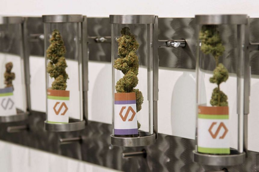 Displays at Shango Cannabis shop on first day of legal recreational marijuana sales beginning at midnight in Portland, Oregon on Oct 1, 2015. The sale of marijuana for recreational use began in Oregon on Oct 1, 2015 as it joined Washington state and