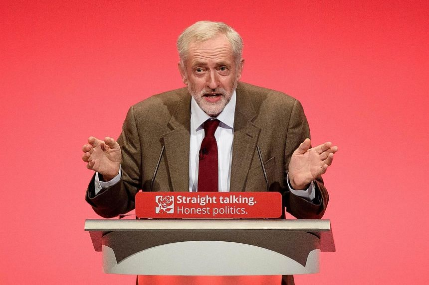 Britain's Labour Party leader Jeremy Corbyn delivering his keynote speech at the party conference on Tuesday. He sought to present himself as a new brand of politician.