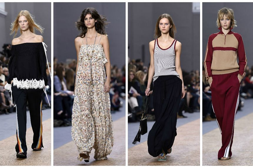Models present ready-to-wear creations for Chloe in Paris.