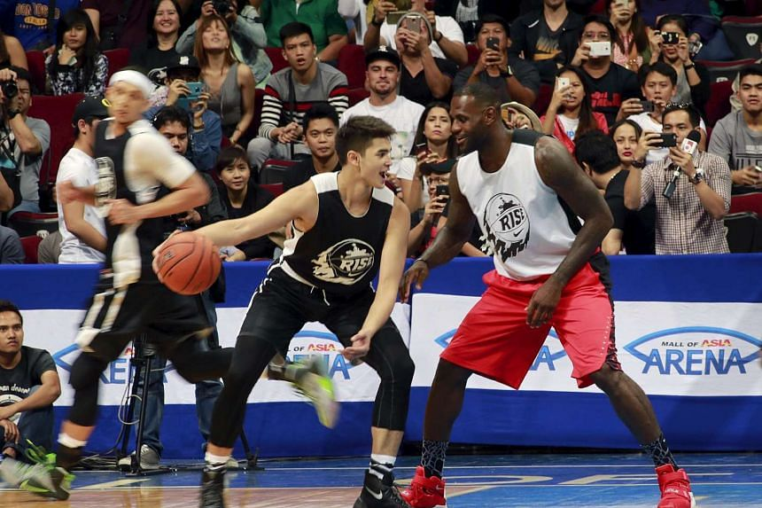 NBA star player Lebron James of the Cleveland Cavaliers plays an exhibition game in Manila.