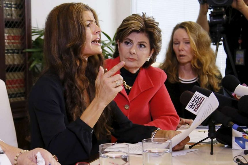 Former Mrs America Lisa Christie (left), who alleges misconduct by Bill Cosby along with Sharon Van Ert (right), speaks about how she stood up to Cosby during an alleged incident, on Sept 30, 2015.