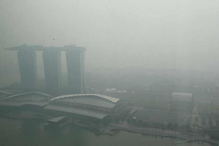 The hazy skyline as seen from Ocean Financial Centre at 10.30am on Thursday.