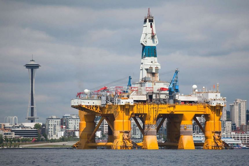 The Shell Oil Company's arctic drilling rig Polar Pioneer as seen in this file photo taken on May 14, 2015, in Seattle, Washington. Royal Dutch Shell announced in September 2015 that it has abandoned its Arctic search for oil after failing to find en