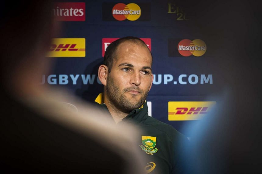 South Africa's scrum half and captain Fourie du Preez attends a press conference in Gateshead, north east England, on Sept 30, 2015, during the Rugby World Cup 2015.