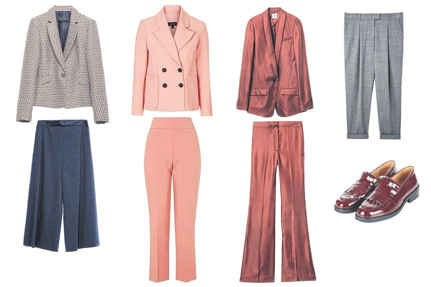 From left to right: Patterned blazer and wide-leg trousers. Double breasted jacket and flared trousers. Burgundy blazer and matching trousers. Grey wool-blend tapered trouser and oxblood fringed loafers.