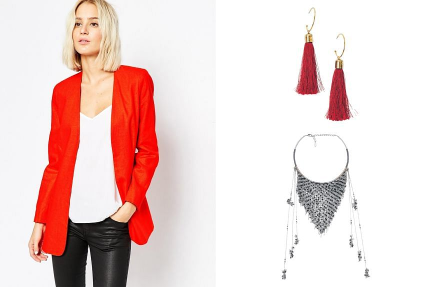 Red linen-viscose mix blazer (left). Red tasselled earrings (right, top). Beaded necklace (right, bottom).