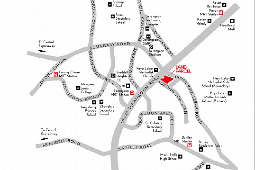The site is opposite Paya Lebar Methodist Church and near Serangoon MRT station and NEX Shopping Mall.