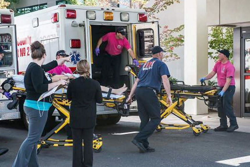 A patient is being taken into the emergency room at Mercy Medical Center in Roseburg, Oregon, after a deadly shooting at Umpqua Community College on Oct 1, 2015.