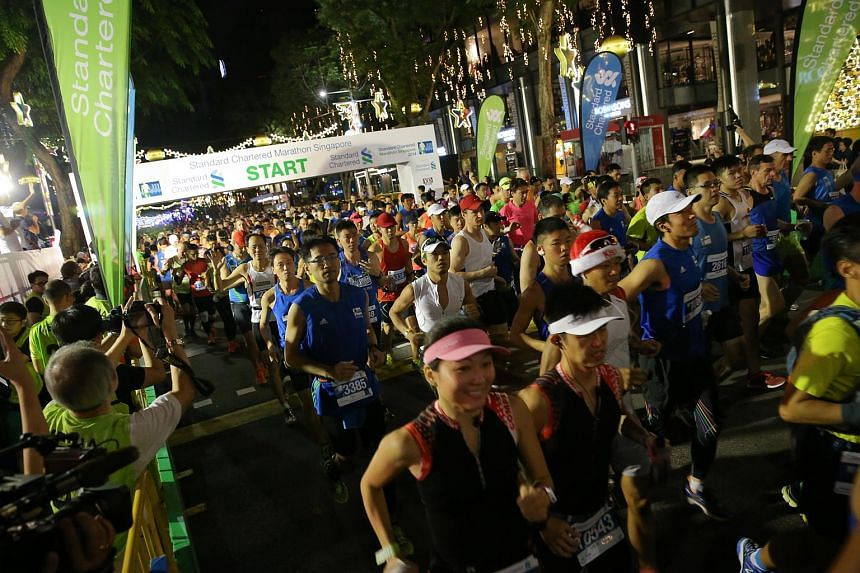 Participants at the flag-off point of the Standard Chartered Marathon Singapore (SCMS) in Orchard Road on Dec 7, 2014.