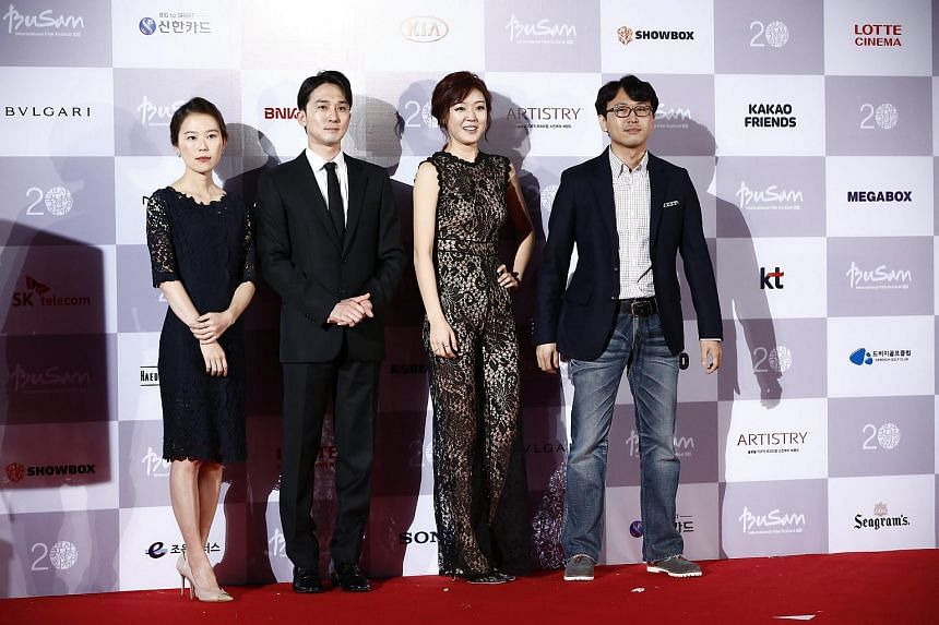 (From left) South Korean actress Kim Sae Byuk, actor Kang Pil Seok, actress Kang Ye Won and director Choi Yong Seok arriving at the opening ceremony of the Busan International Film Festival (BIFF) on Oct 1, 2015.