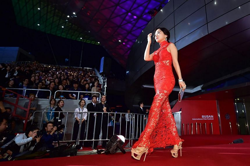 South Korean actress Min Song A walking on the red carpet for the opening ceremony of the Busan International Film Festival (BIFF) on Oct 1, 2015.