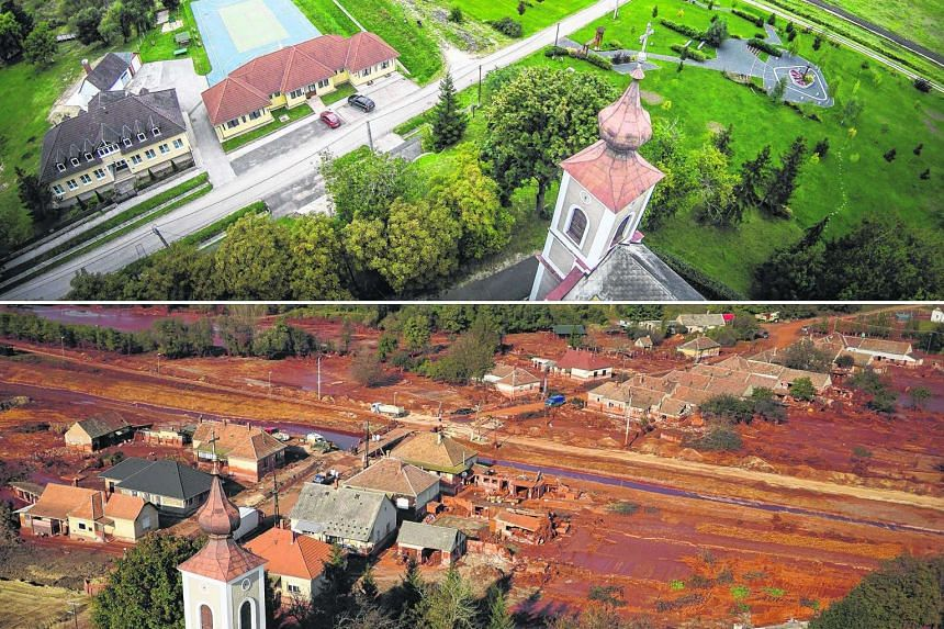 A general view of Kolontar village in Hungary on Wednesday (top) and on Oct 12 five years ago, eight days after the country's red sludge catastrophe. On Oct 4, 2010, the dike of a reservoir containing red mud at an alumina factory near Kolontar broke