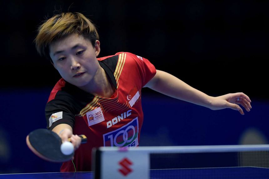 Singapore's Feng Tian Wei during the women's singles quarter-final round of the 22nd ITTF -Asian Table Tennis Championships in Pattaya on October 1, 2015.
