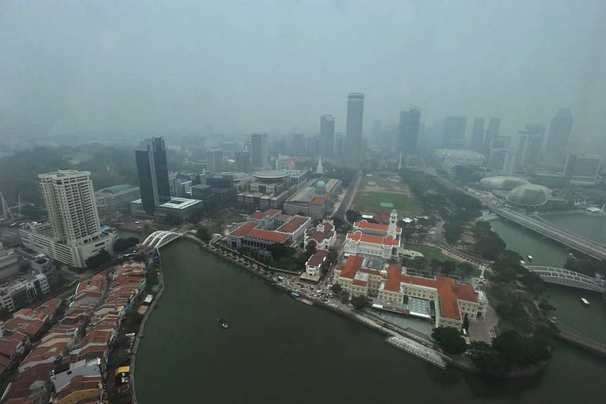 An aerial view of the City Hall area at around 1.30pm on Oct 1, 2015.