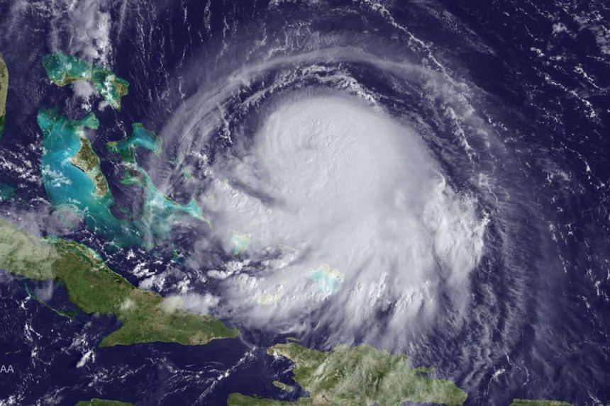 A satellite image shows Hurricane Joaquin in the Western Atlantic Ocean.