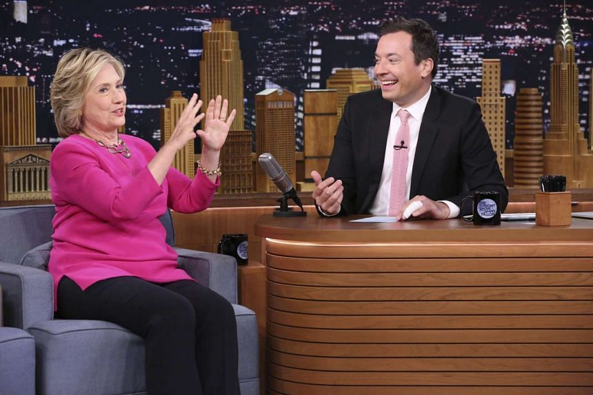 Late-night talk show host Jimmy Fallon chats with US Democratic presidential candidate Hillary Clinton.